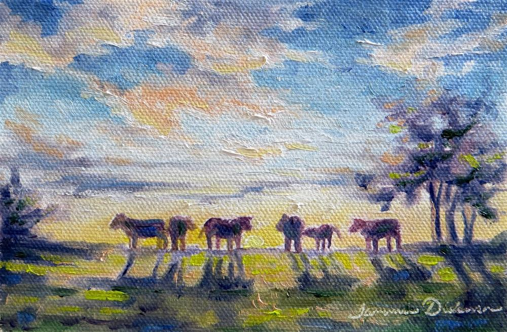 """Cows on the Ridge"" original fine art by Tammie Dickerson"