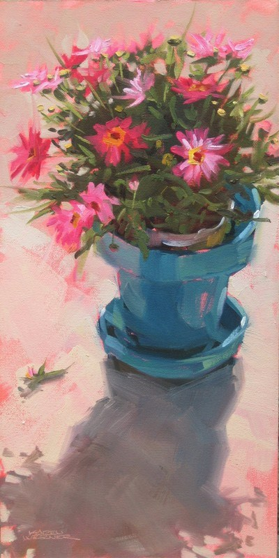 """Patio Pot"" original fine art by Karen Werner"