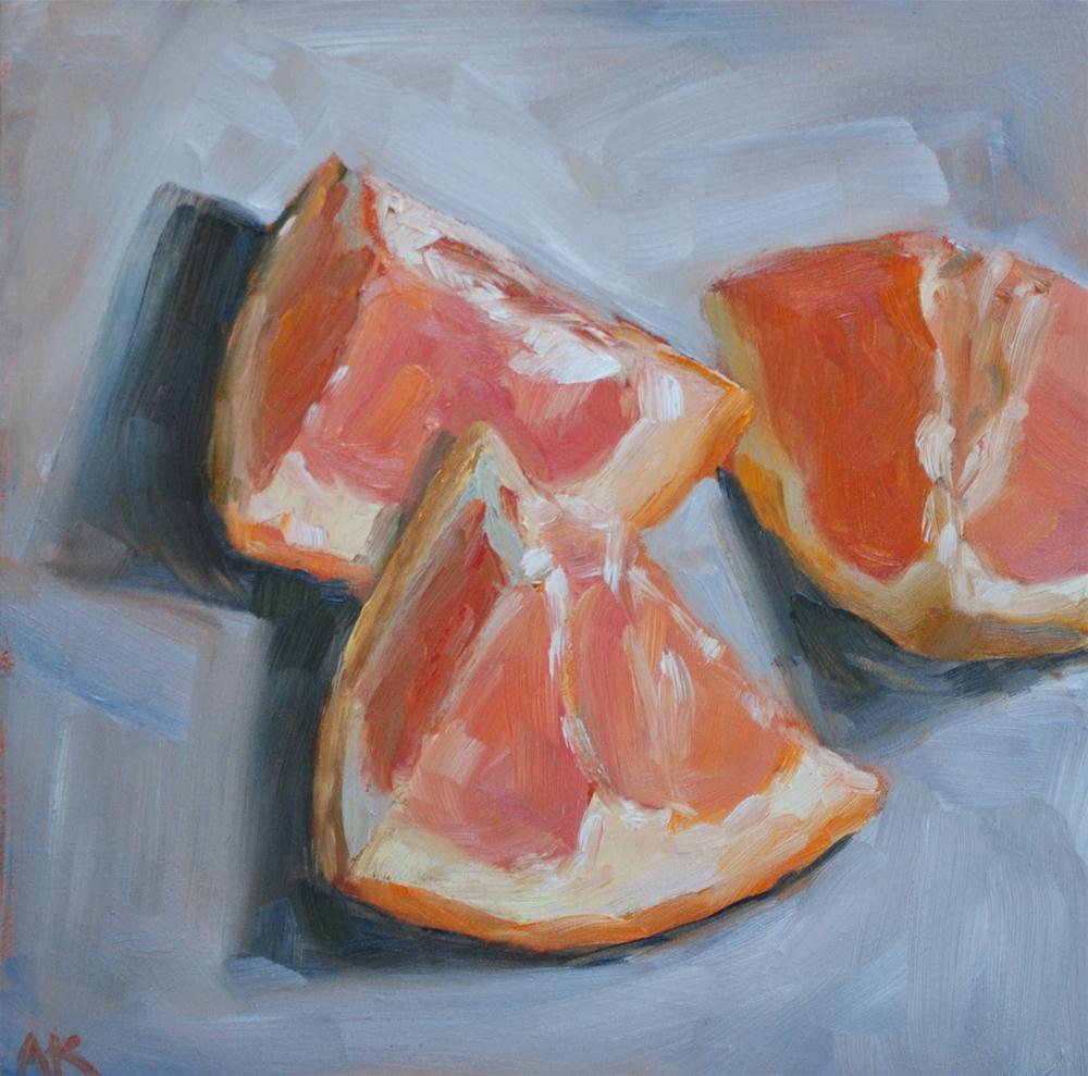 """Grapefruit Wedges"" original fine art by Alison Kolkebeck"