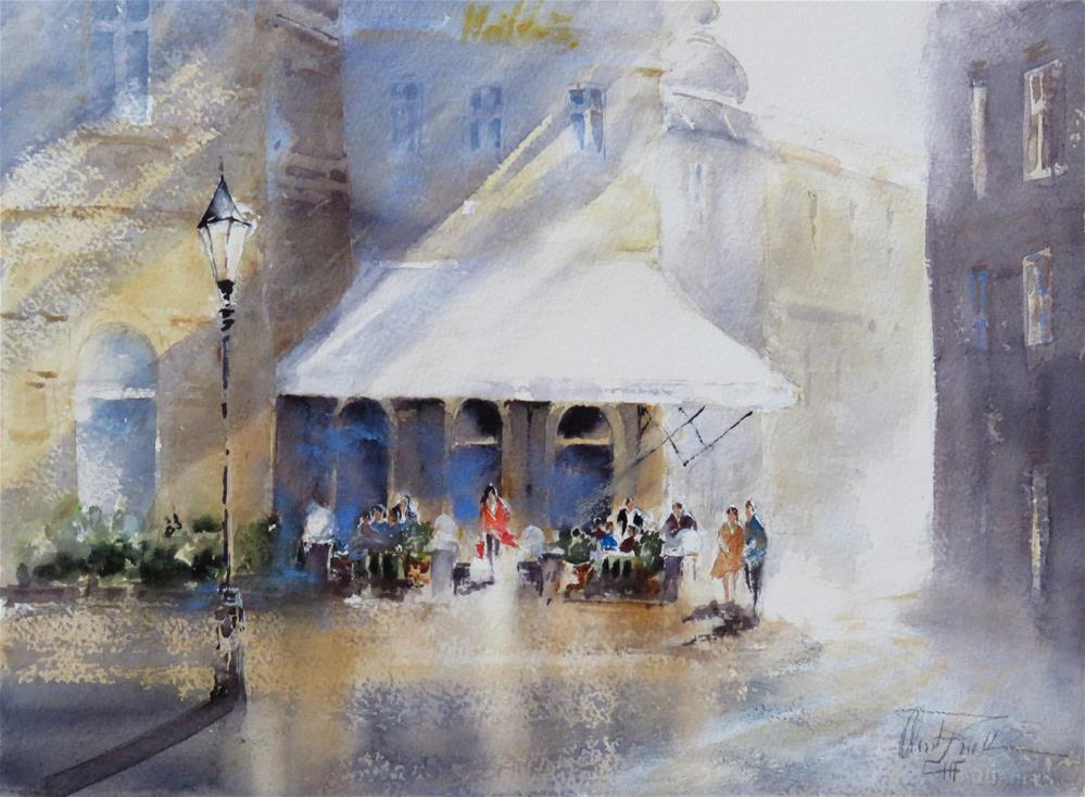 """Cafe Schwarzenberg in Vienna"" original fine art by Christa Friedl"