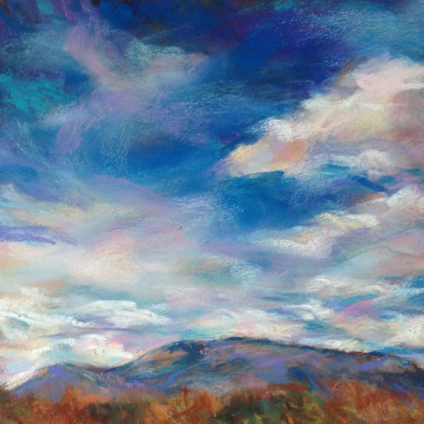 """PAST THE TREES - 6 x 6 pastel landscape by Susan Roden"" original fine art by Susan Roden"