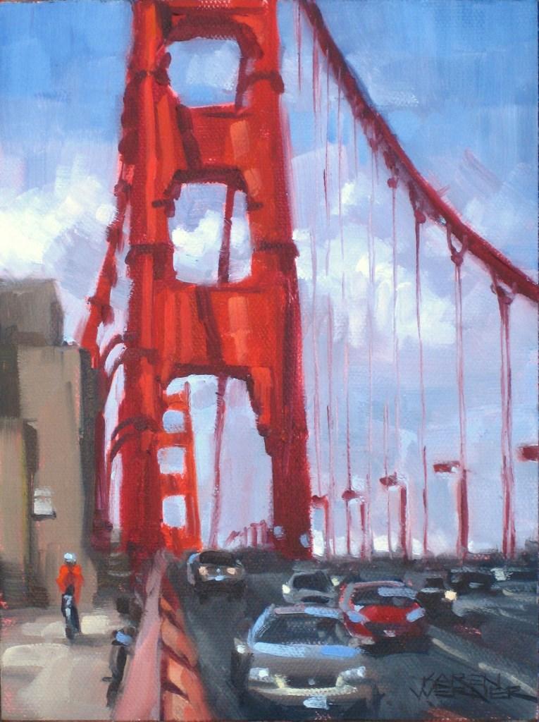 """""""Bike The Bridge"""" original fine art by Karen Werner"""