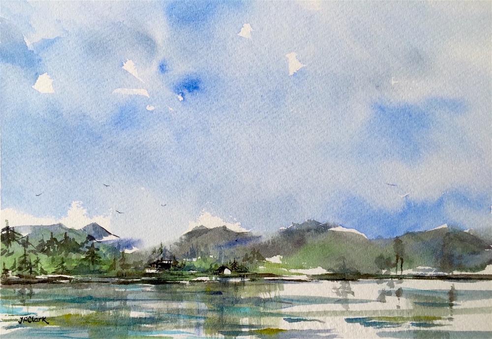 """Cabins at the Lake"" original fine art by Judith Freeman Clark"