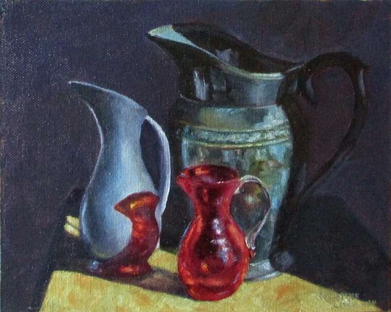 """Pitcher Trio"" original fine art by Christine Lewis"