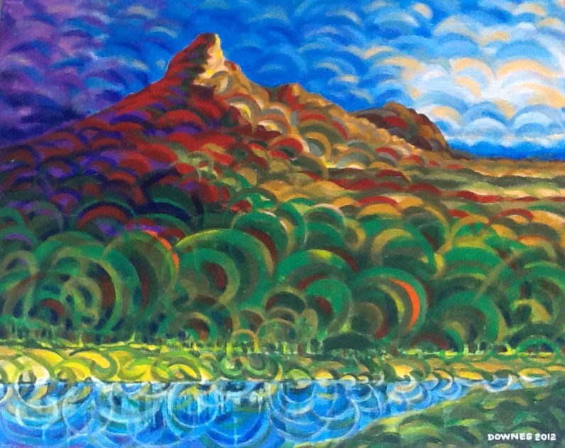 """278 MOUNT WARNING 36"" original fine art by Trevor Downes"