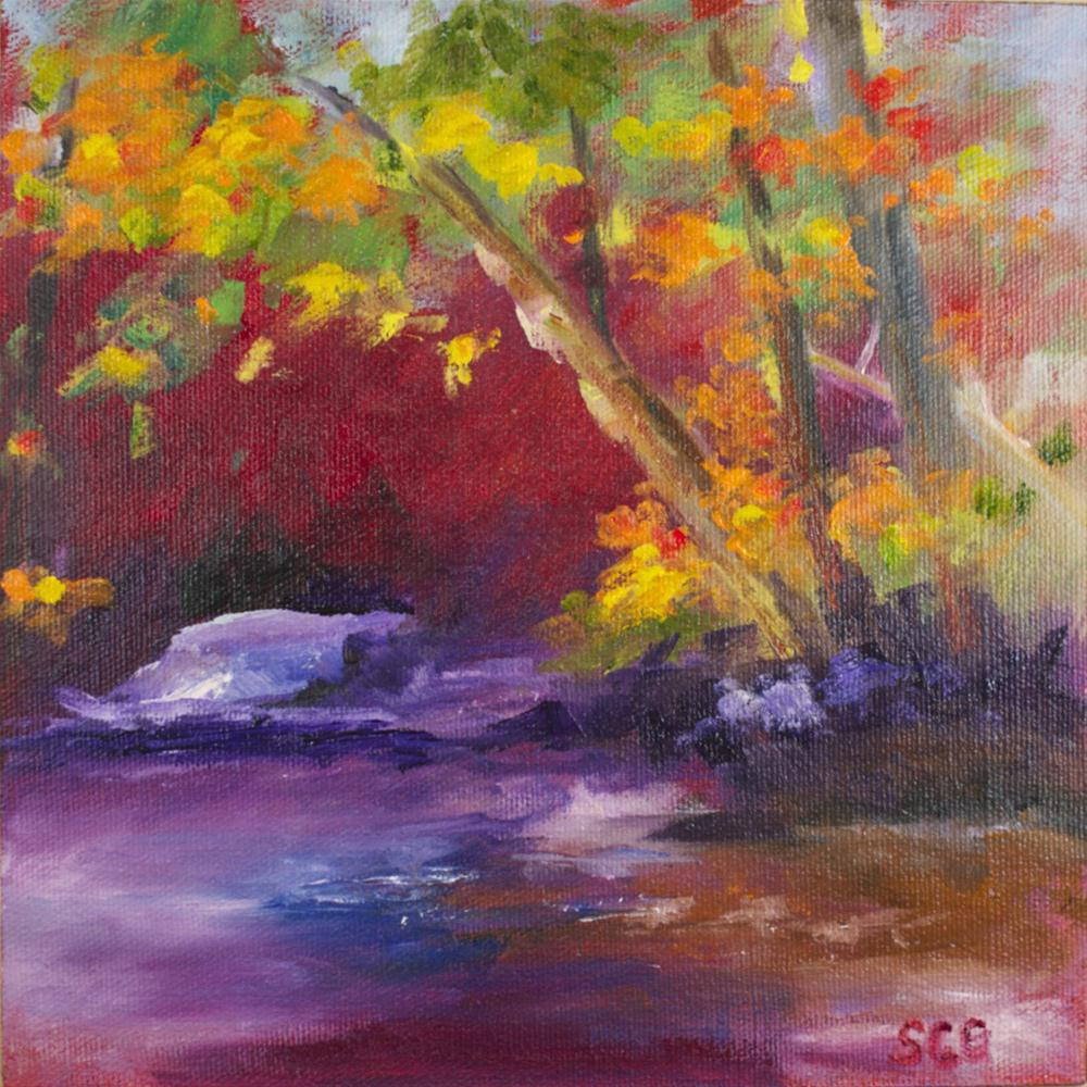 """Magenta Landscape"" original fine art by Sue Churchgrant"