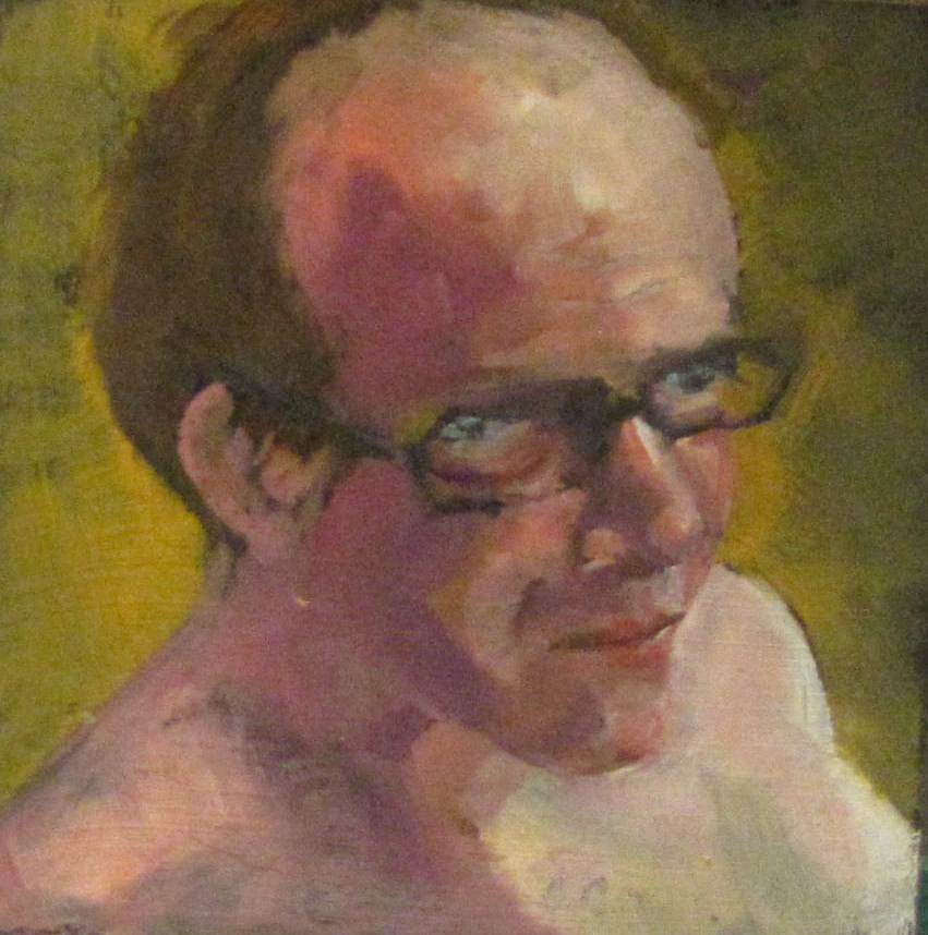 """Carl  4x4  oil #340 portrait"" original fine art by Christine Holzschuh"
