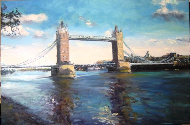 """Tower Bridge"" original fine art by Adebanji Alade"