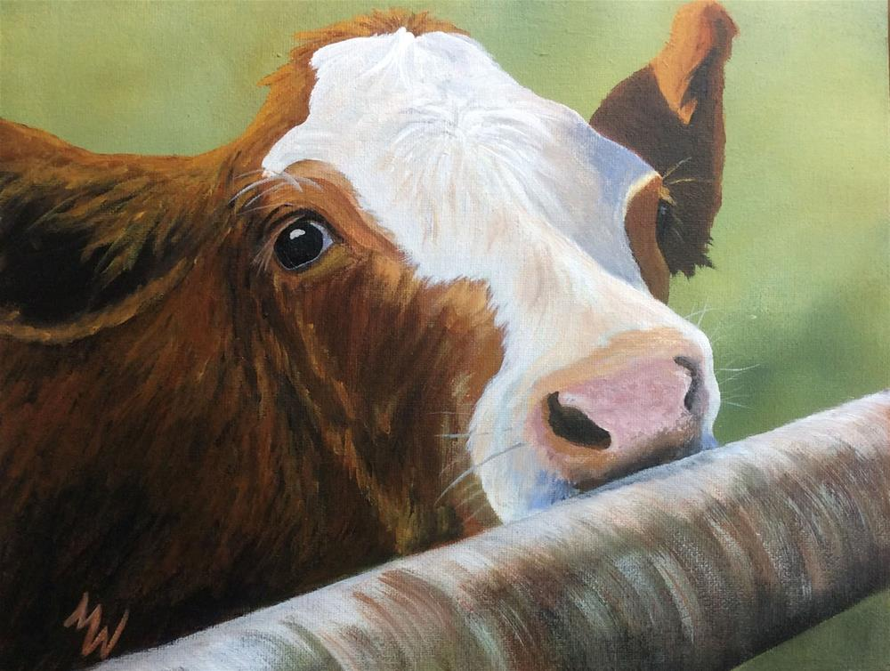 """Calf on the Rail"" original fine art by Michelle Wolfe"