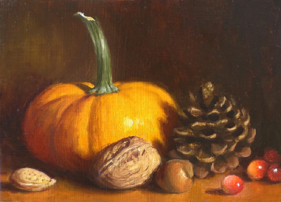 """Autumn Still Life with Pine Cone"" original fine art by Debra Becks Cooper"