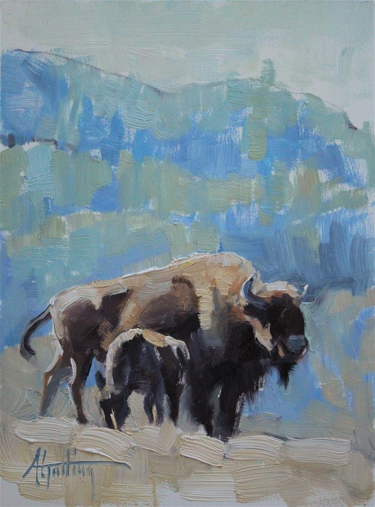 """Buffalo Study #7"" original fine art by Abigail Gutting"