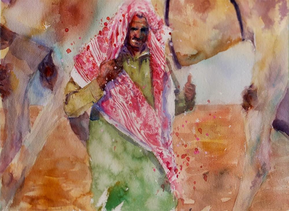 """""""Al Marmoom Camel Racetrack 1/7"""" original fine art by Midori Yoshino"""