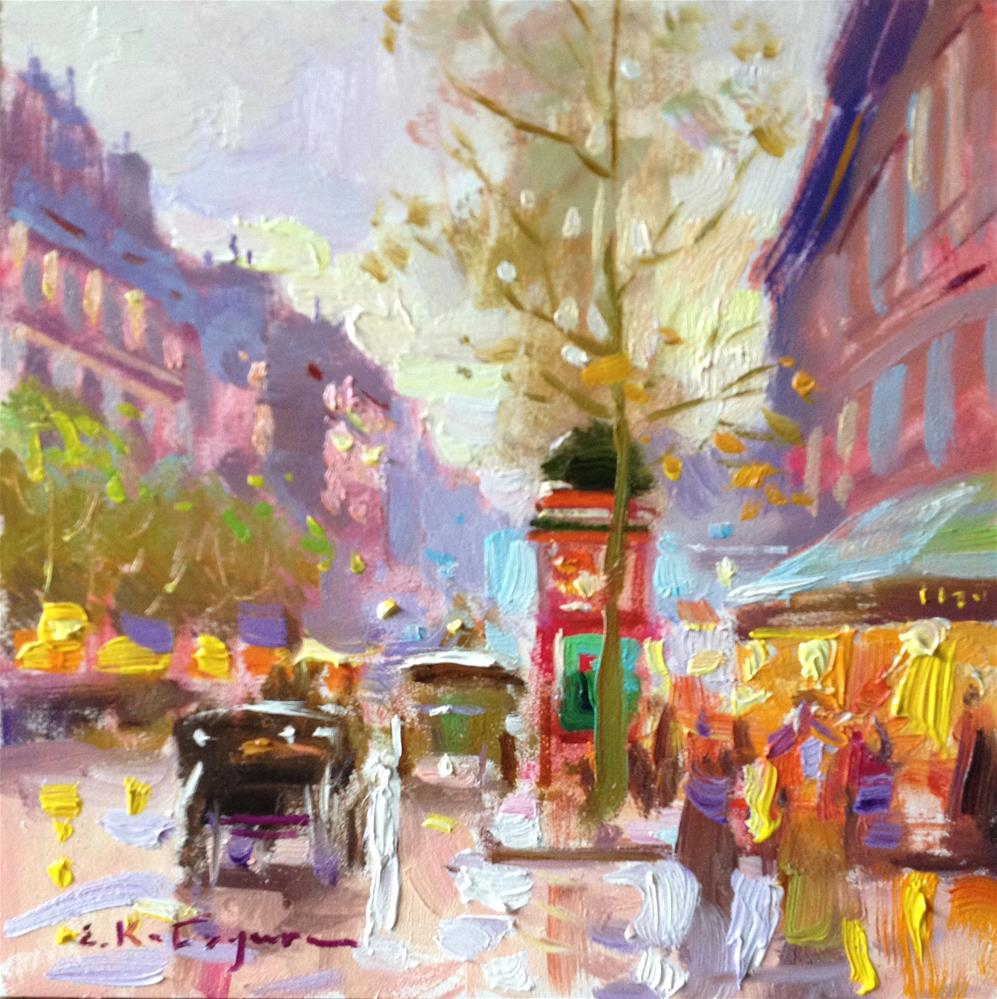 """City Morning"" original fine art by Elena Katsyura"
