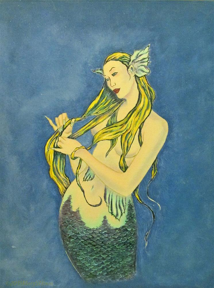"""Mermaid 1"" original fine art by Mary Sylvia Hines"