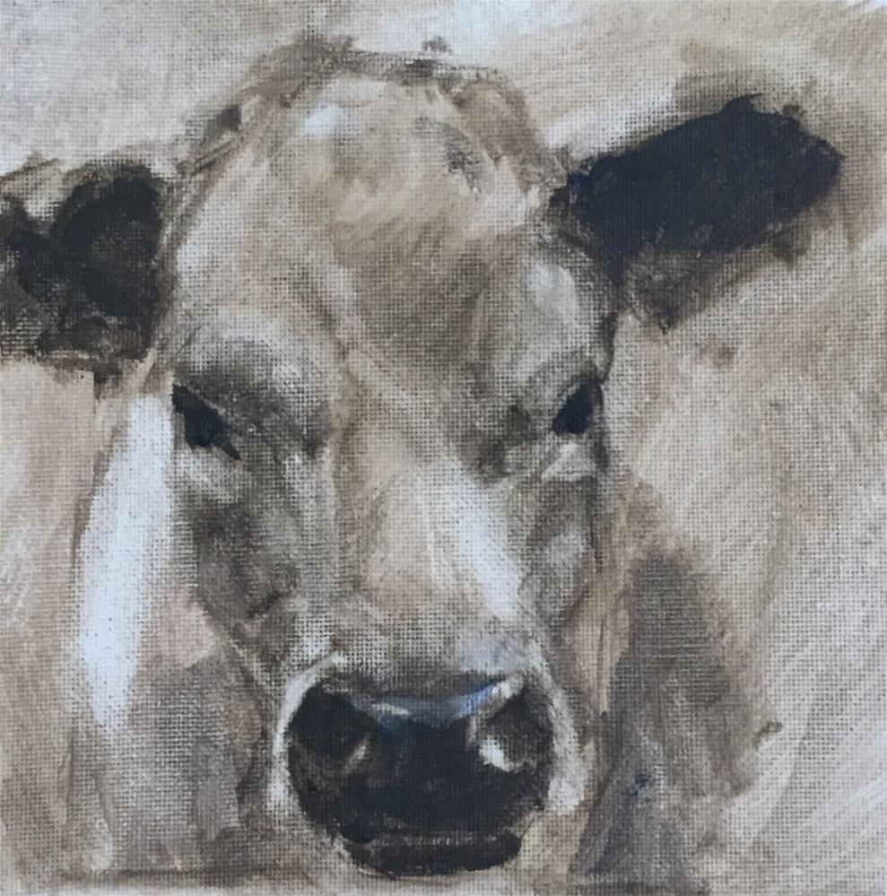 """Cow 1"" original fine art by David Wesselman"