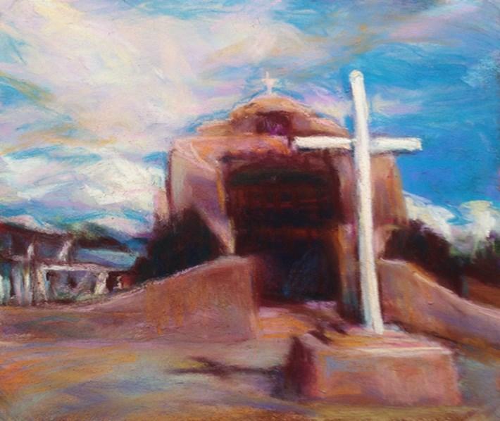 """""""ABIQUIU - southwest pastel landscape y Susan Roden"""" original fine art by Susan Roden"""