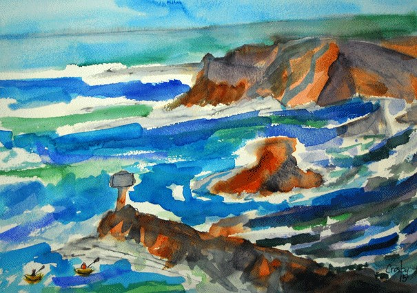 """Headlands Light"" original fine art by Donna Crosby"