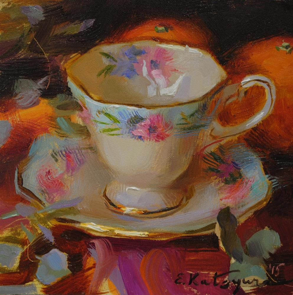 """Cornflower Teacup and Citrus"" original fine art by Elena Katsyura"