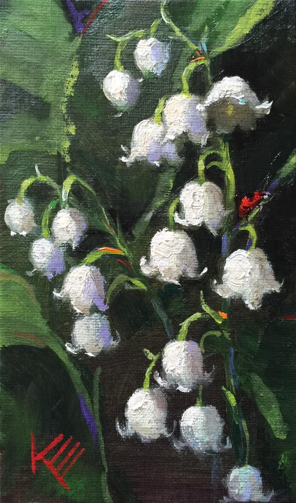 """Lily of the valley and lady bug"" original fine art by Krista Eaton"