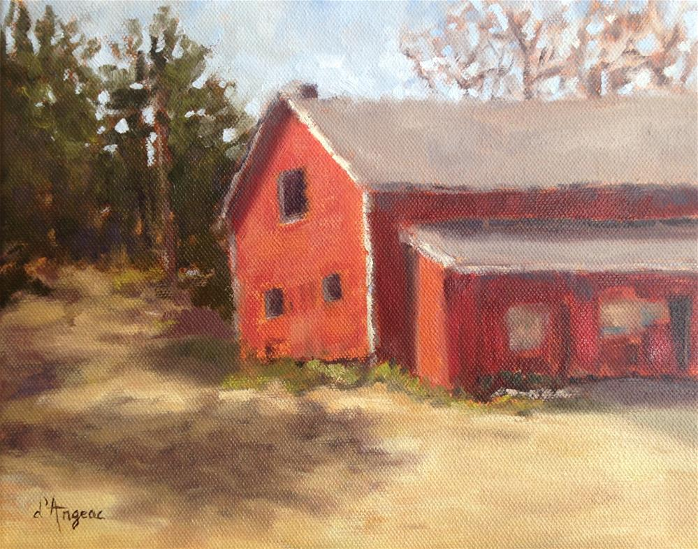 """Barn in Plein Air"" original fine art by Karen D'angeac Mihm"
