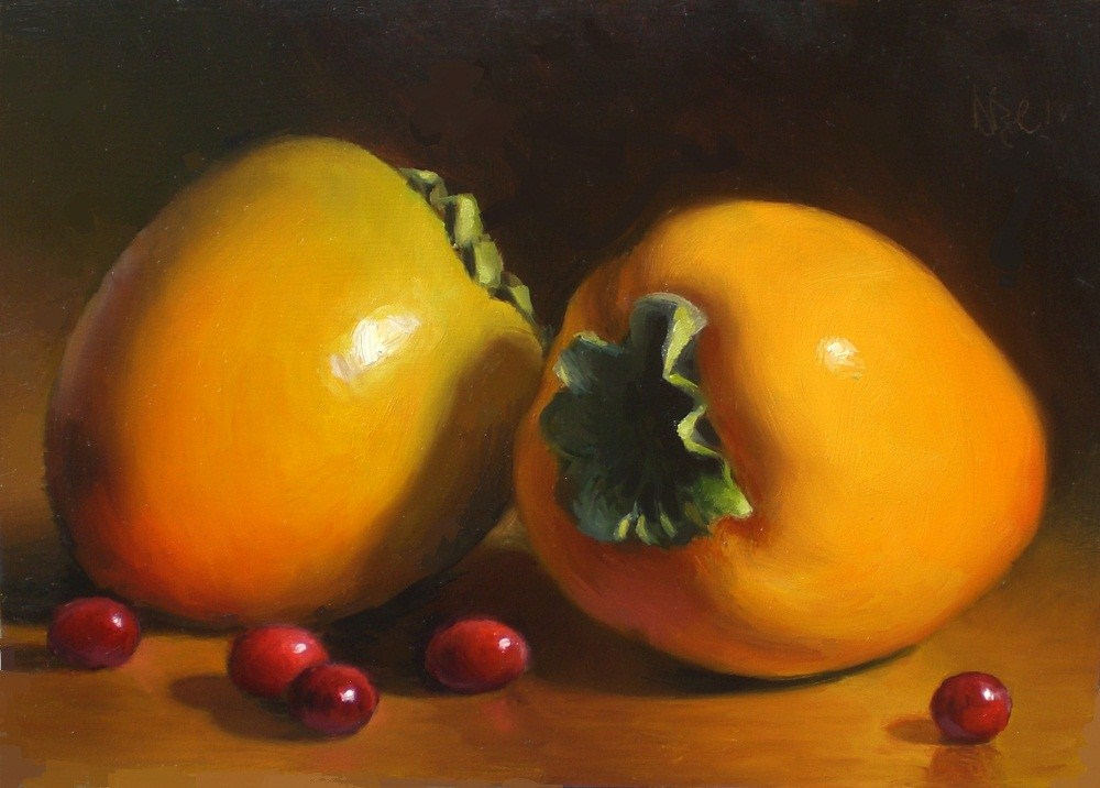 """Persimmons and Cranberries"" original fine art by Debra Becks Cooper"