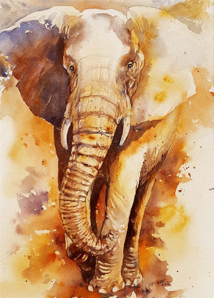 """""""Bronze Billy  Elephant"""" original fine art by Arti Chauhan"""
