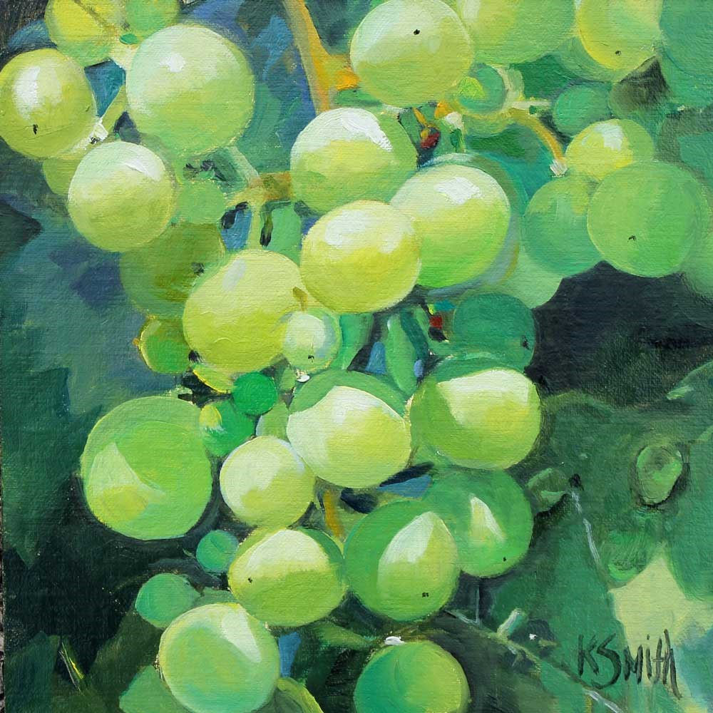 """wine grapes"" original fine art by Kim Smith"