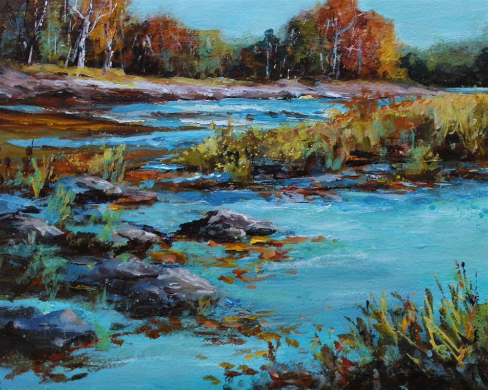 """Original autumn creek river stream landscape painting"" original fine art by Alice Harpel"