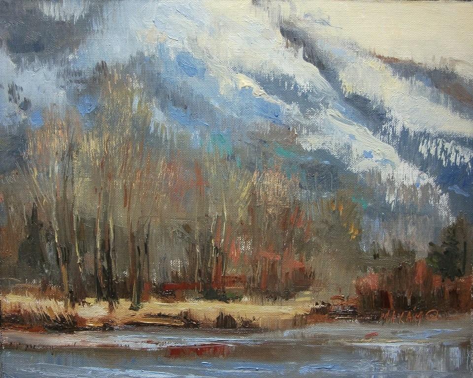 """Winter Blue"" original fine art by Mary Maxam"