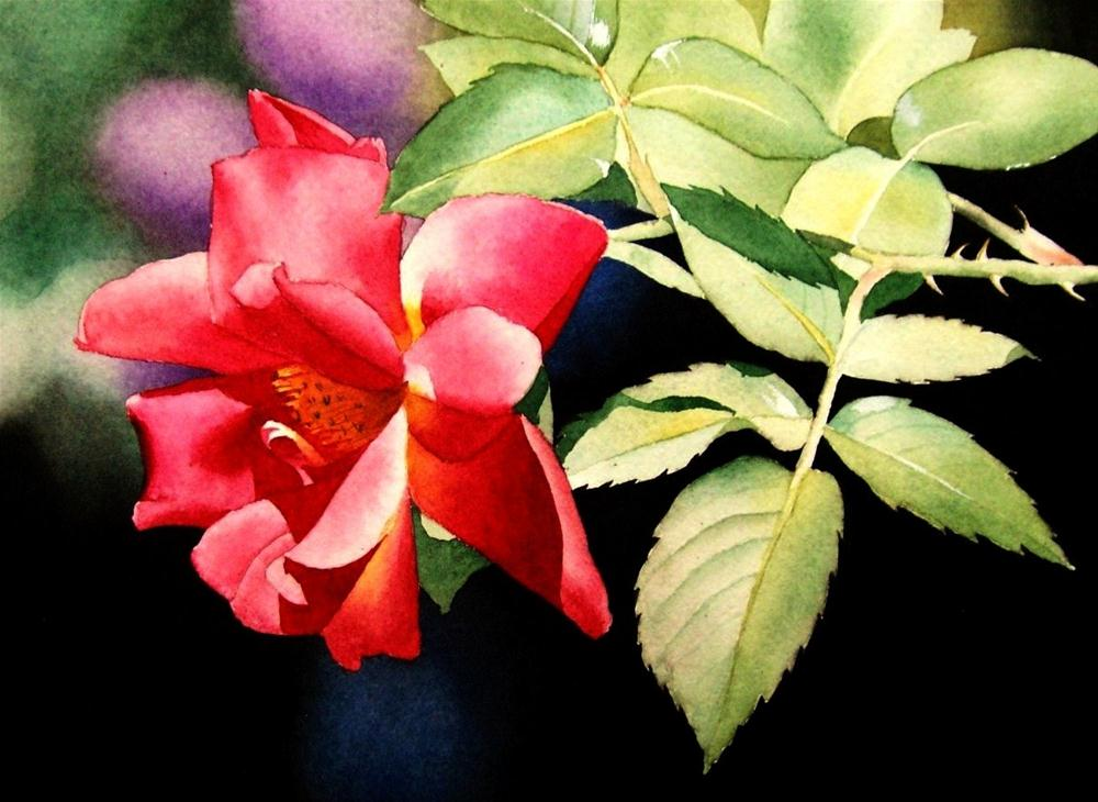 """""""Red Roses & Leaves"""" original fine art by Jacqueline Gnott, TWSA, WHS"""