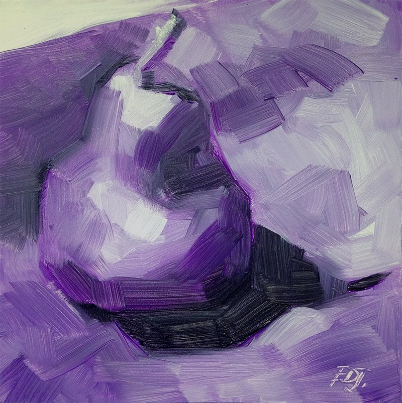 """Value Study - Purple Pear"" original fine art by Elizabeth Dawn Johnston"