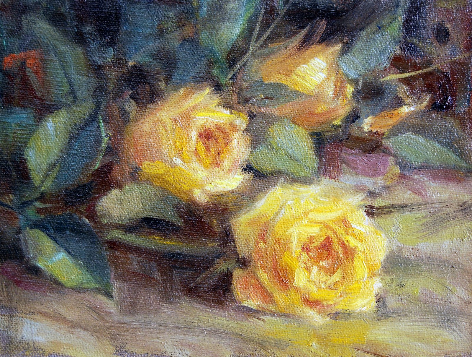 """Roses From Son #1"" original fine art by Julie Ford Oliver"