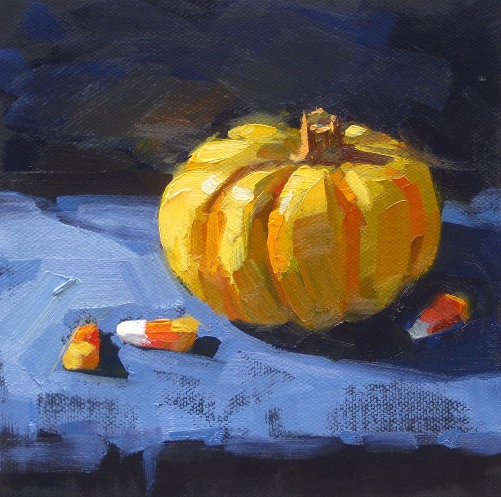 """""""Spooky Little Pumpkin"""" original fine art by Karen Werner"""