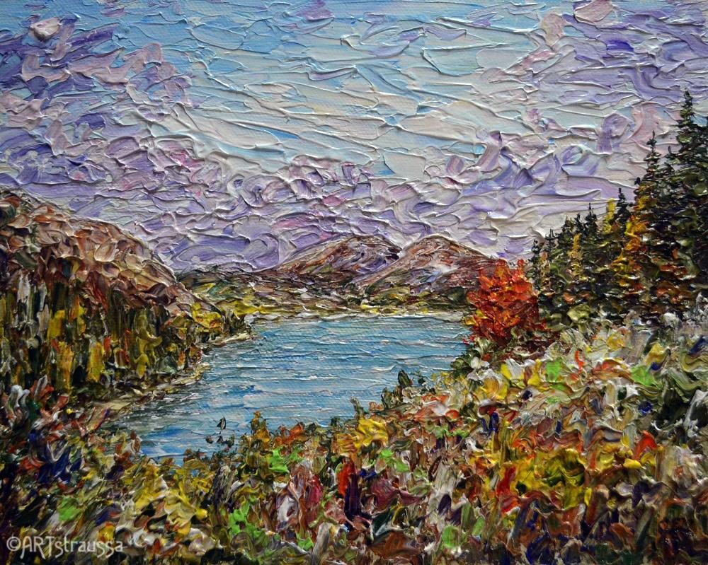 """Autumn At Jordon Pond"" original fine art by Gloria Ester"