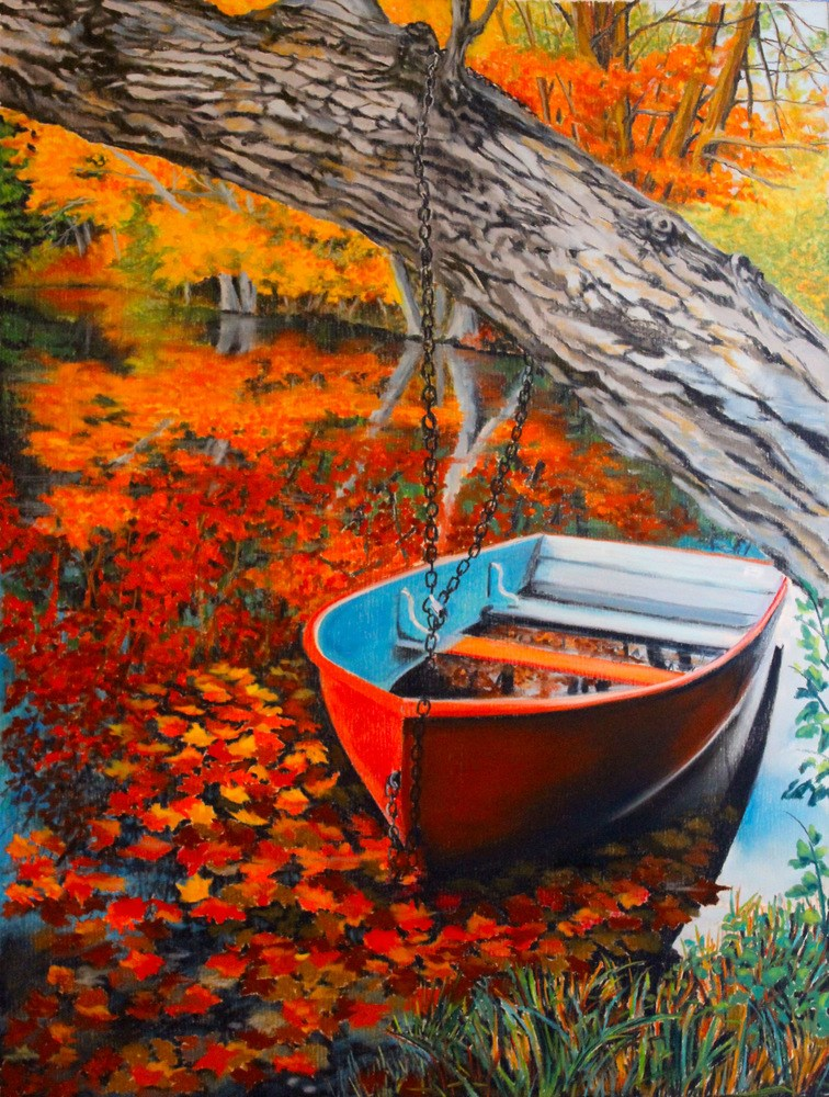 """Autumn Red"" original fine art by Jill Bates"