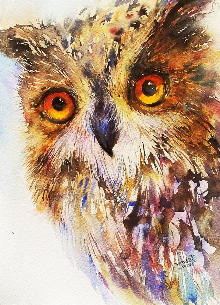 """""""Owl Alert"""" original fine art by Arti Chauhan"""