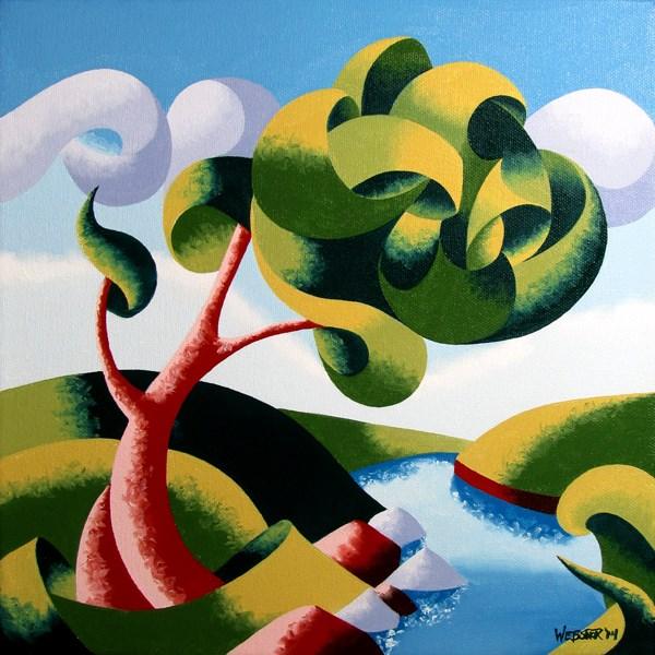 """Mark Adam Webster - Abstract Geometric Landscape Oil Painting 12x12"" original fine art by Mark Webster"