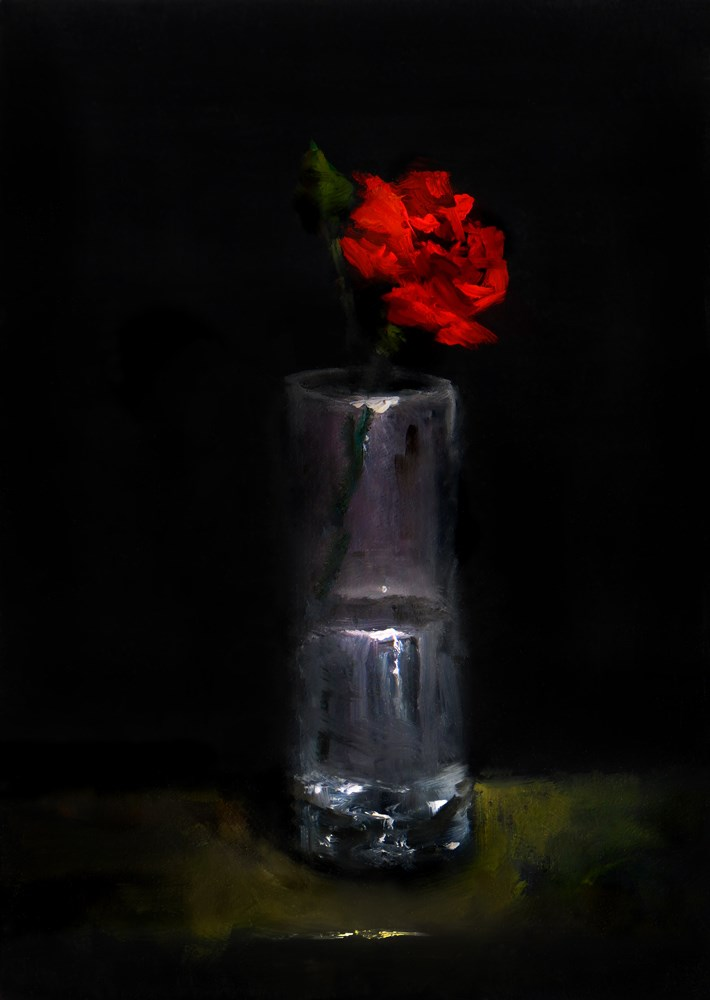 """A Rose in a Tall Glass"" original fine art by Bob Kimball"