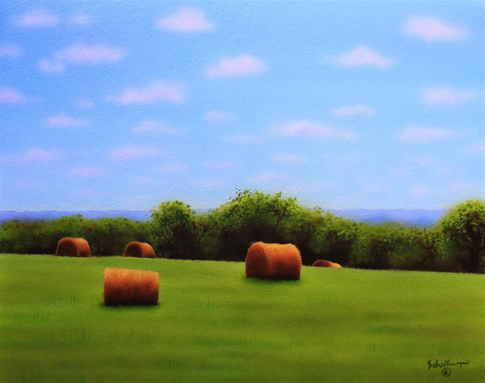 """June Hay Field (Looking West)"" original fine art by Fred Schollmeyer"