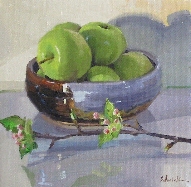 """""""Apple Bowl with Apple Blossoms art daily painting still life fruit flowers green pink"""" original fine art by Sarah Sedwick"""