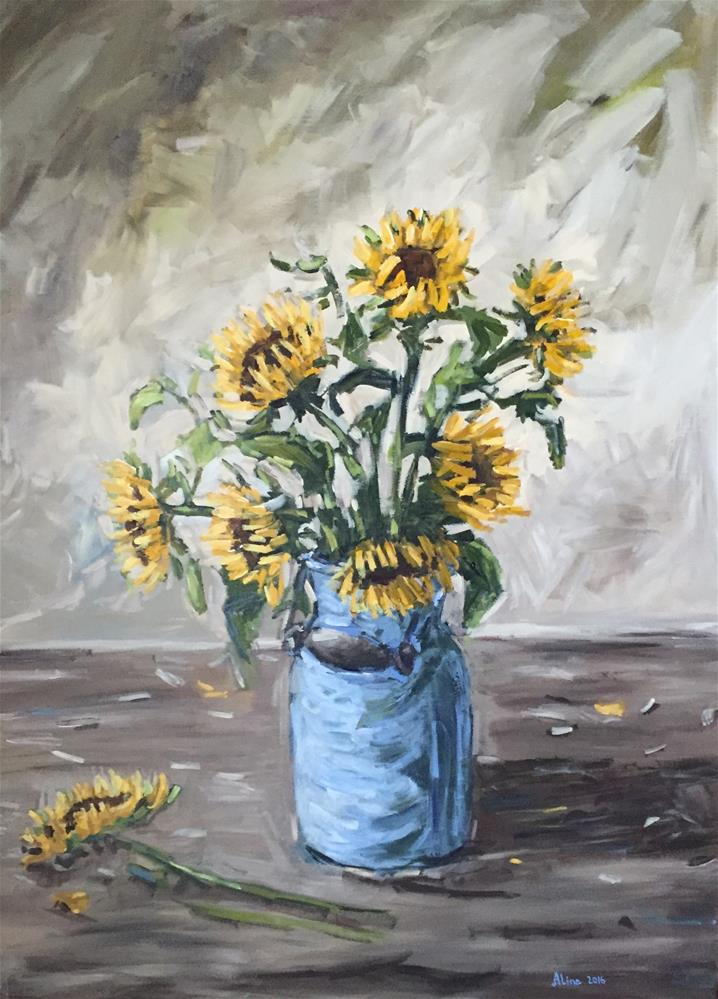 """Sunflowers"" original fine art by Alina Vidulescu"