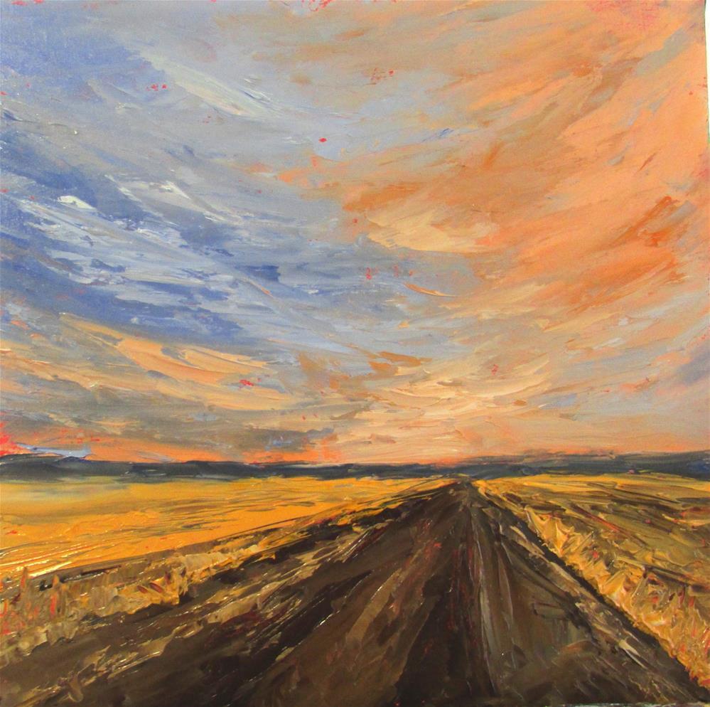 """8 x 8 inch oil Prairie Sky"" original fine art by Linda Yurgensen"