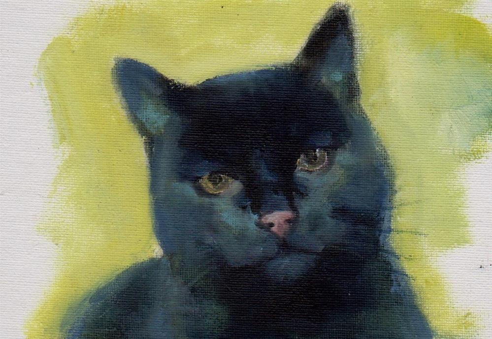 """black cat for President"" original fine art by V. DeBak"