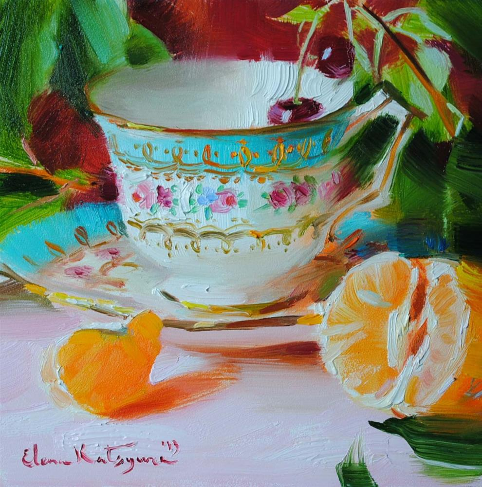 """Teacup and Mandarin               Sold"" original fine art by Elena Katsyura"