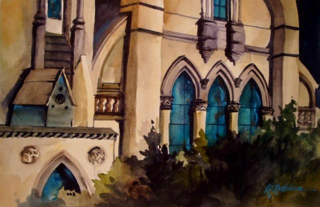 """Church Windows-Chicago South Side"" original fine art by Kathy Los-Rathburn"