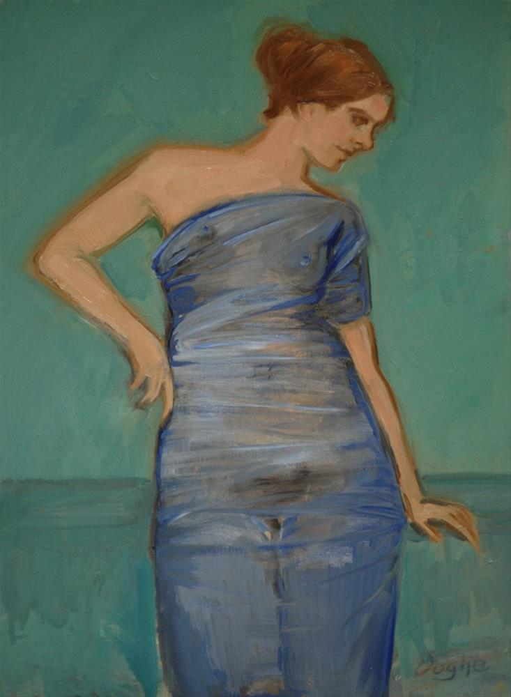 """Nude Wrapped in Blue"" original fine art by Angela Ooghe"