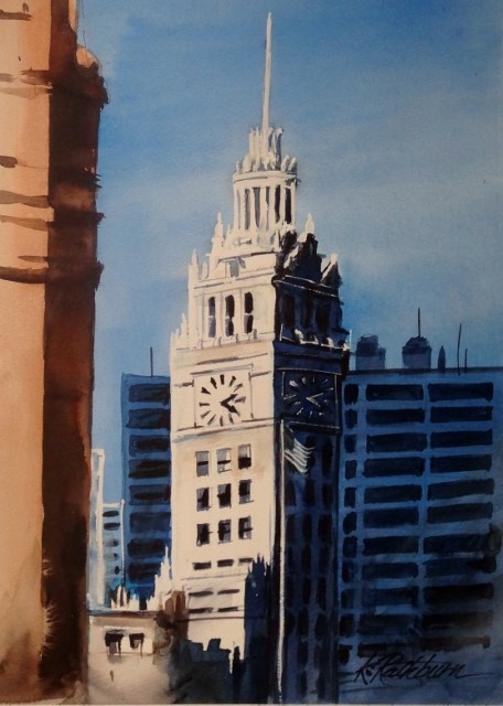 """Chicago at 2:20"" original fine art by Kathy Los-Rathburn"
