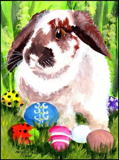 """""""Easter Bunny"""" original fine art by Patricia Ann Rizzo"""
