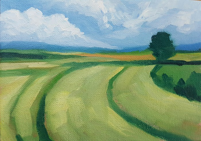 """Fields in Summer"" original fine art by J M Needham"