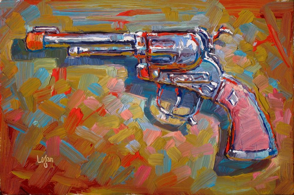 """Pink Handled Cap Gun"" original fine art by Raymond Logan"
